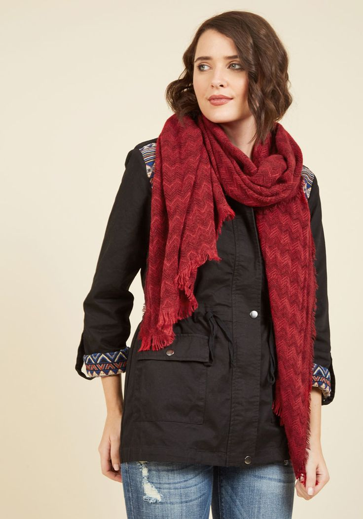 Zigzagging Rights Scarf in Merlot, @ModCloth