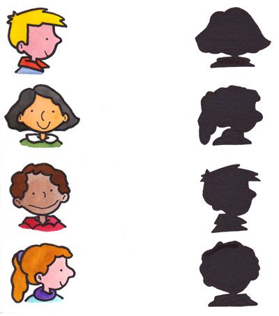 Joc de reconèixer personatges. Pots fer-ne tans com vulguis.  Juego de parejas: identificar cada dibujo con su sombra.