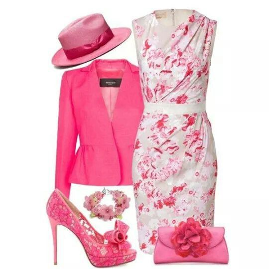 Pretty pink jacket and dress but I would do different accessories