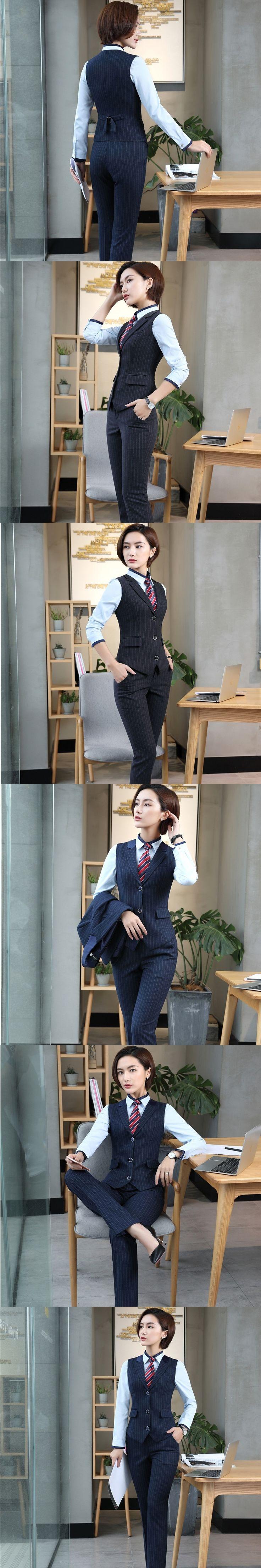 Formal Uniform Design Pantsuits Fashion Striped With 2 Piece Vest Coat and Pants For Ladies Women Business Outfits Plus Size