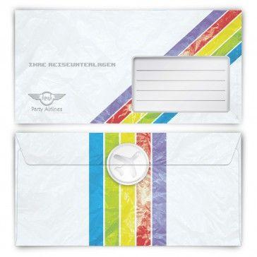 #Briefumschläge DIN-Lang im #Reiseunterlagen #Look. Bei http://www.kartenmachen.de/shop/briefumschlage/briefumschlage-flugticket.html  Ohne Fenster und perfekt passend zu unseren Einladungskarten als #Flugticket.