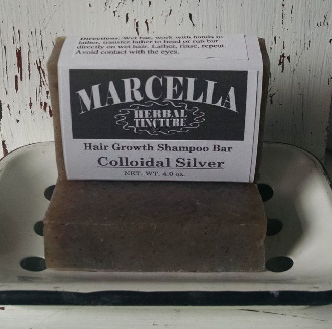 COLLOIDAL SILVER Handcrafted Solid Hair Growth Shampoo Bar All Natural Organic Fantastic Antibiotic Helps With All Scalp Conditions by MarcellaHerbal on Etsy