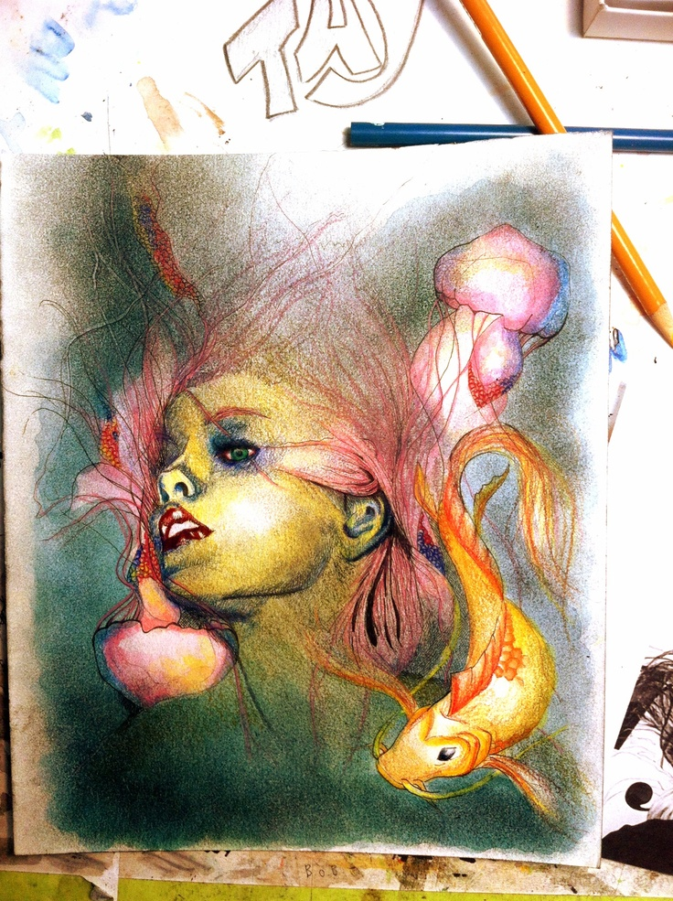 Ink, watercolour and colored pencil -water woman