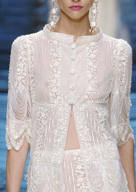 Oh I want to crochet this lace top/jacket/vest layer right NOW. I'd throw it on over anything anytime!!  Valentino Haute Couture