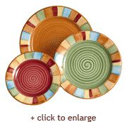 Fiesta Ware Serape Dinner, Salad and Dessert Plates -Sets of 4 Made in the USA 100% HF Coors ♥ Fully vitrified lead-free china with a color glaze Made in the USA