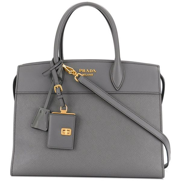 Prada Large Bibliotheque tote bag (3 735 AUD) ❤ liked on Polyvore featuring bags, handbags, tote bags, grey, prada tote bag, gray tote bag, gray purse, see through tote and prada tote
