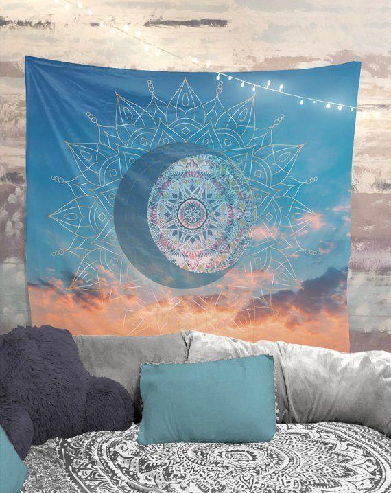 Sunrise Mandala Wall Tapestry Blue Orange Yoga Meditation Etsy In 2020 Tapestry Meditation Room Wall Tapestry