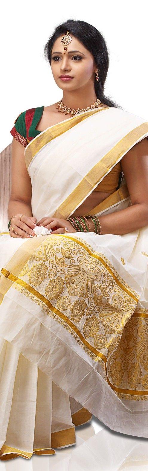 Traditional Kerala Kasavu Saree - original pin by @webjournal