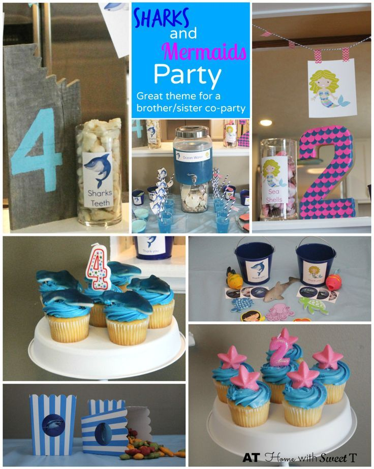 Sharks and Mermaid Party-Sharks and Mermaids is the perfect theme for a joint brother sister sibling birthday party celebration.