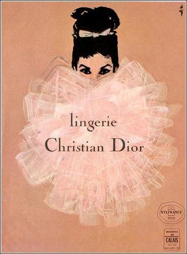 Reklamy retro Dior - René Gruau (źródło: Pinterest)