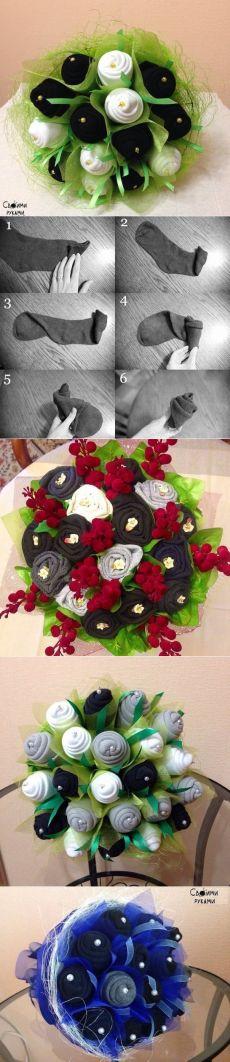 Kytice z ponožek pro muže se smyslem pro humor.  Příprava na Valentýna a 23. února !!!