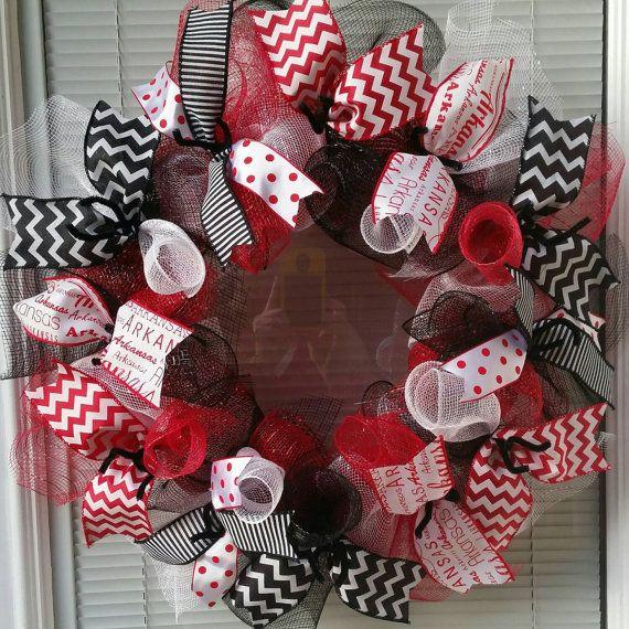 Arkansas Razorbacks Wreath, Arkansas Wreath, Razorback Wreath, Deco Mesh Wreath, Ribbon Wreath