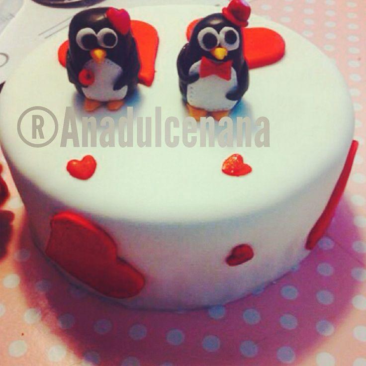 Tarta enamorados! Pareja pingüinos! San valentin