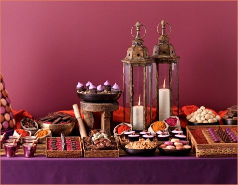 Dessert Table. Purple and Gold accents and lanterns.