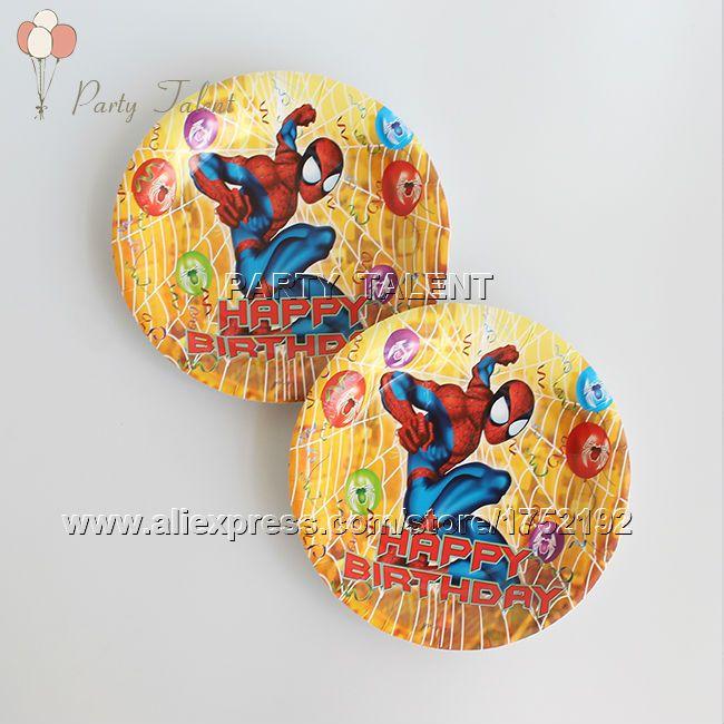 Ну вечеринку поставки 20 шт. человек - паук тема ну вечеринку украшения одноразовая посуда один оптовая-офф бумажные тарелки пластины паук шаблон