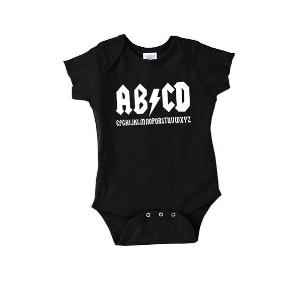 AB/CD alphabet funny parody on AC/DC baby onepiece sleeper. A must have gift for any little rocker out there.    SIZES  Newborn - (up to 13 lbs)