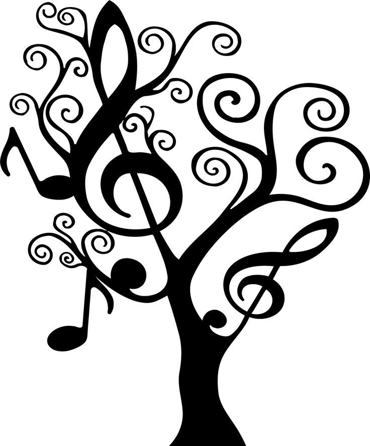 Our popular musically-themed tree in larger sizes! Tree is shown in the 64 x 77 size in black in the photo.