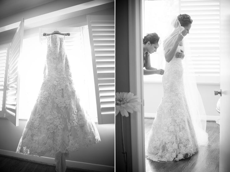 gorgeous bride getting dressed in her Monique Lhuillier gown