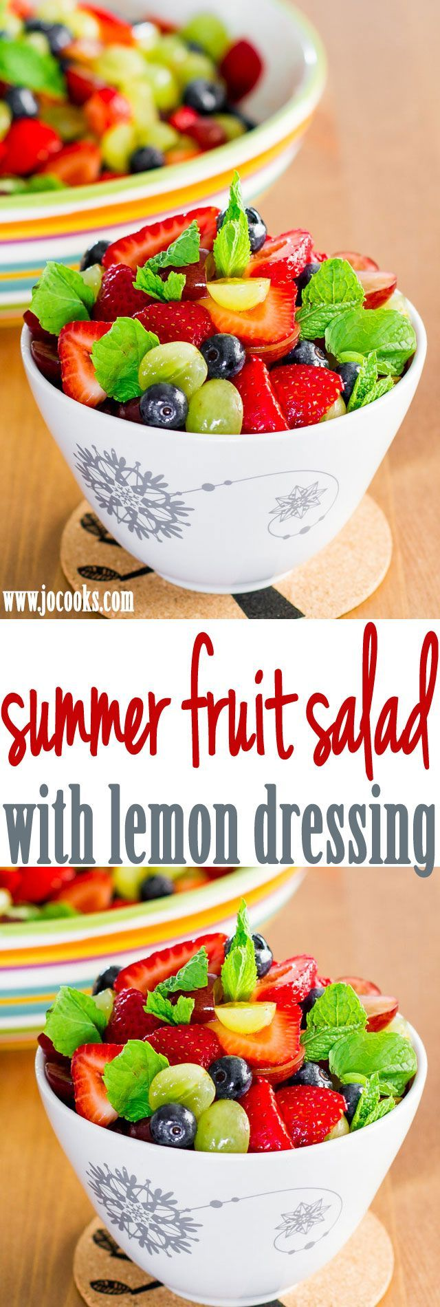 Summer Fruit Salad with Lemon Dressing – healthy, delicious, refreshing and perfect for a hot summer day.