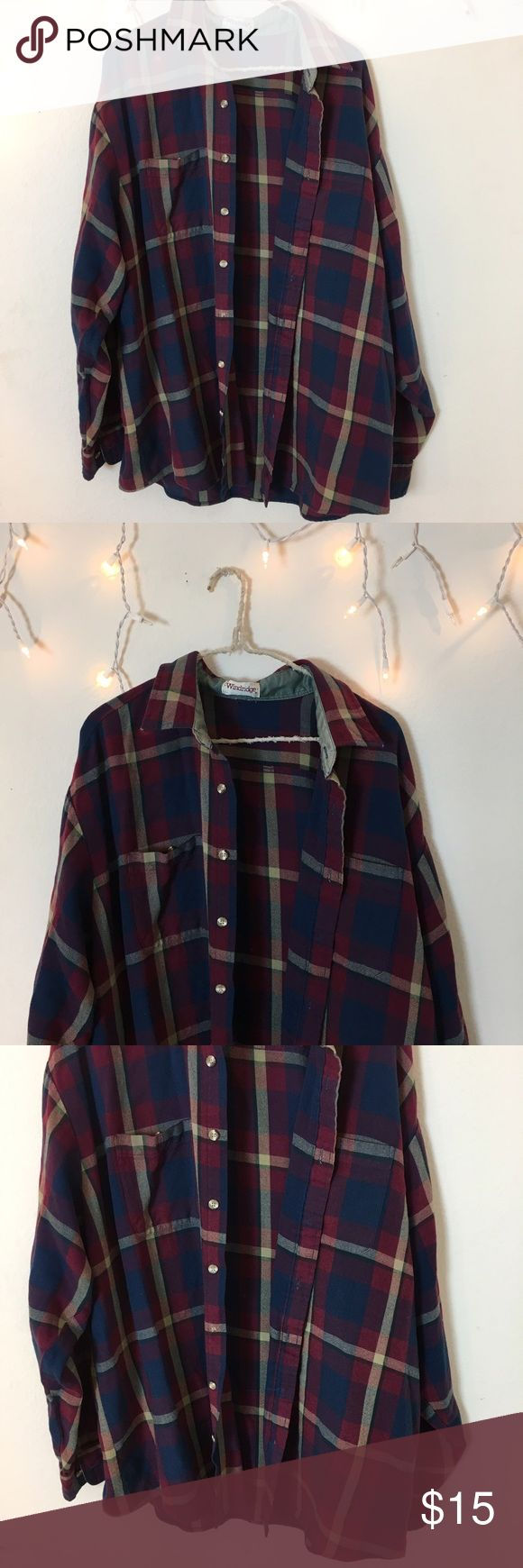 Vintage Red Blue White Flannel Perfect condition multi color Flannel. Long oversized fit and ultra comfy. Bought from Brandy Melville vintage section, tag brand is windridge. Best for women's medium or large for an oversized fit. Brandy Melville Tops Tees - Long Sleeve