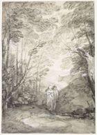 Paysage de forêt avec un couple d'amoureux dans un chemin | Musée du Louvre | Paris