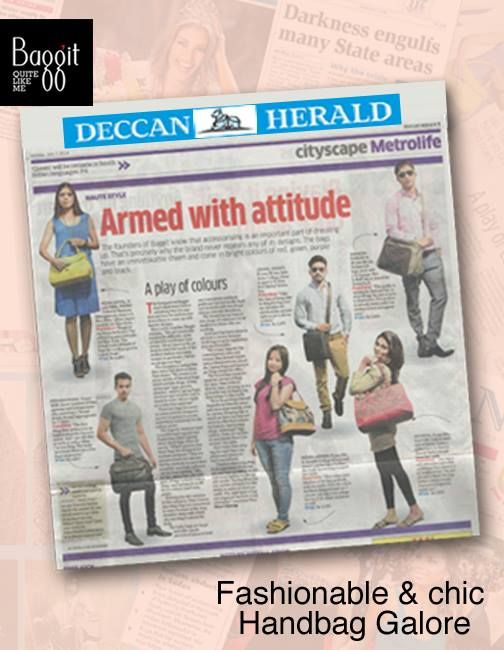 India's Largest selling #Handbag brand, Baggit got covered in Bangalore's authentic Daily, Deccan Herald. A Mixed Collection of some of our awesome bags got featured. Deck up your wardrobe with these amazing numbers and get stylish with Baggit, today! Visit our exclusive stores or log on to www.baggit.com