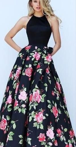Halter Sleeveless Flower Print Patchwork Flared Maxi Dress