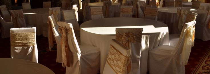 Double Gold Satin and Lace Bows and White Chair Covers by Design  The Sophisticated Touch ...Chair Covers by Design