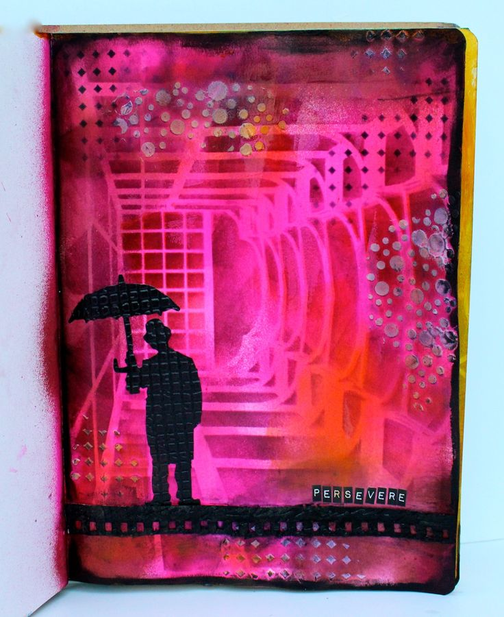 "A quick journal page using Dylusions Ink Sprays, Pan Pastels, Ranger's Archival Inks, and Wendy Vecchi's white Embossing Paste. That gorgeous 9X12"" background stencil is called Large Hall and was d..."