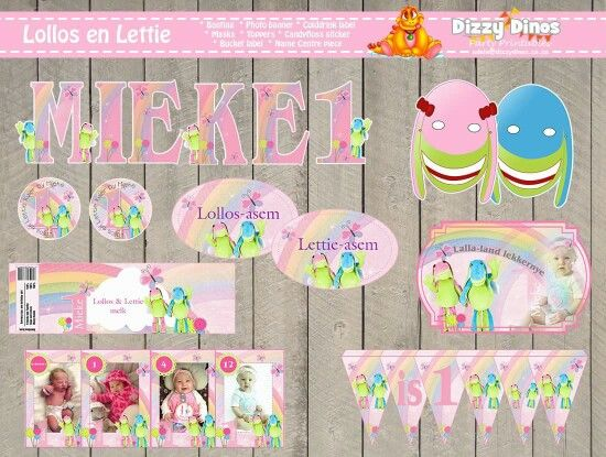Lollos en Lettie diy printable bunting, name centre piece,  colddrink label, bucket label, photo banner, masks, toppers, treat bag stickers