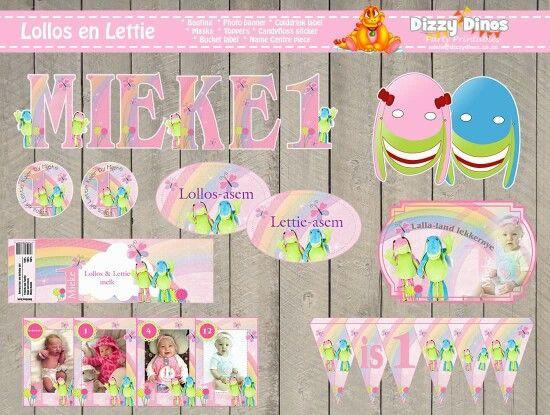 Lollos en Lettie diy printable bunting, name centre piece,  colddrink label, bucket label, photo banner, masks, toppers, treat bag stickers