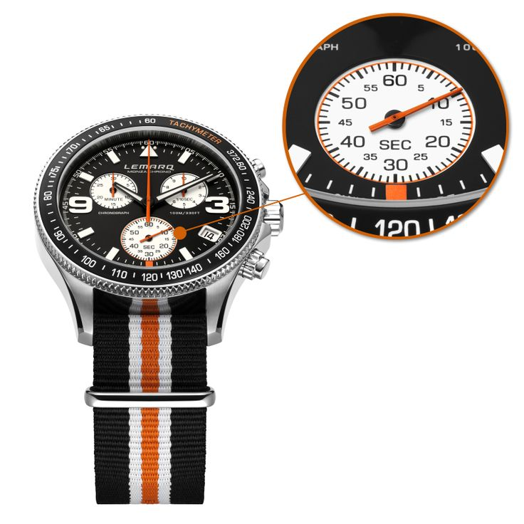 Discover the details on the Monza Chrono black & white. A Father's Day gift you might like.  Order today, get it tomorrow (NED) @ http://www.lemarqwatches.com  #watch #chronograph #racing #tachymeter #swissmade