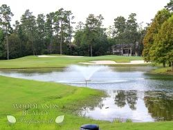 Lake with a fountain in The Woodlands Golf Club - Gallery - Woodlands Realty Pros