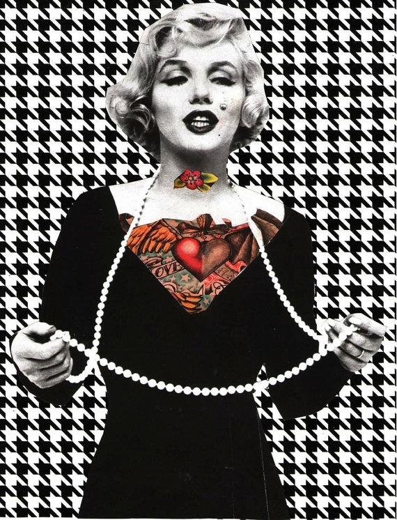 tattooed marilyn monroe by mrsnoggle on Etsy, $7.50