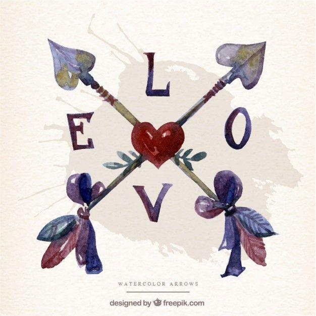 Amor setas cruzadas Vetor grátis