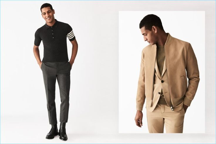 Ease into relaxed tailoring with smart essentials. Left: Tidiou M'Baye wears a Thom Browne cashmere polo shirt with wool trousers and leather wingtip brogue boots. Right: Tidiou embraces a monochromatic number with a nubuck leather bomber jacket, blazer, sweater, and trousers by Berluti.