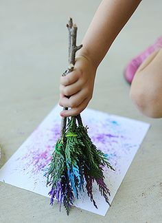 Make Natural Paintbrushes for Kids Art (I've done this with tiny pieces - but it's a good idea to rubber band them together!)