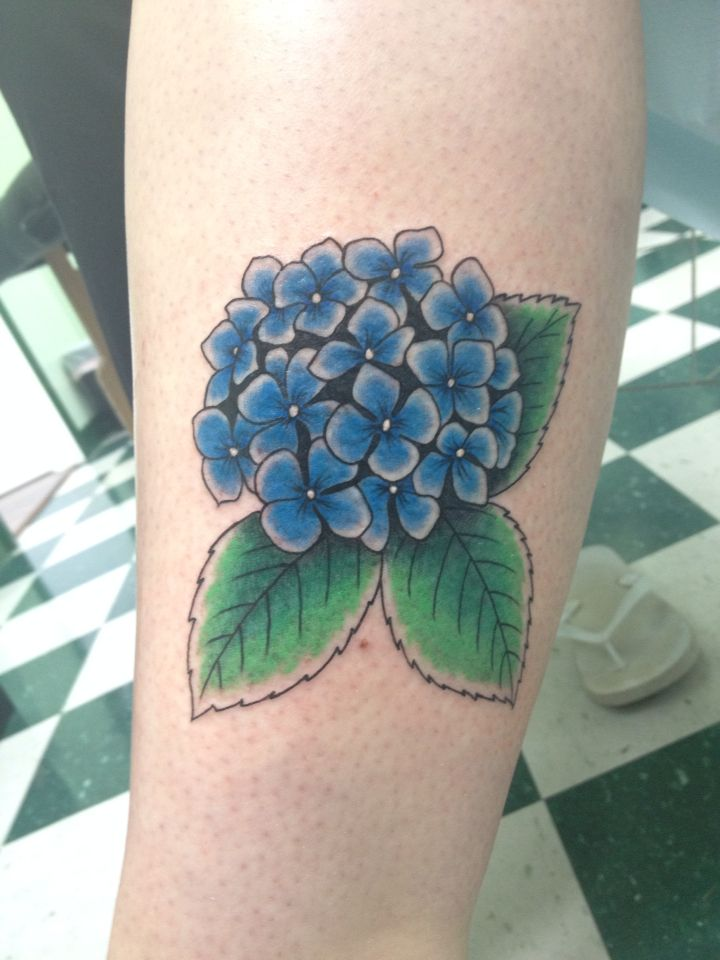 My hydrangea flower tattoo for my grandfather
