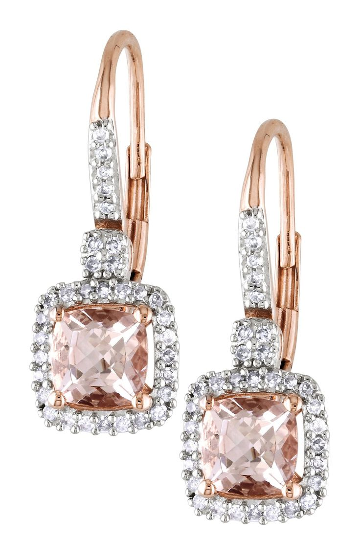 10K Rose Gold Morganite & Diamond Trim Earrings