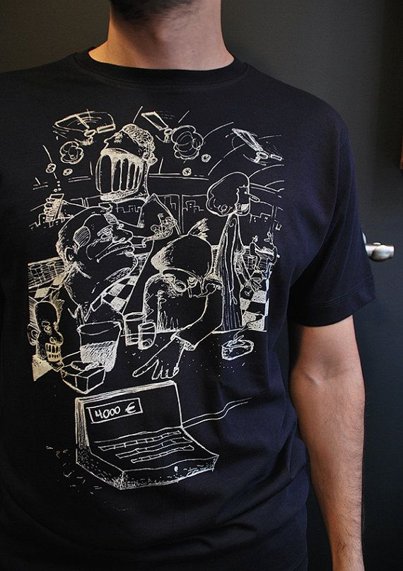 Bar Bukowski  Mens t shirt, hand drawn design and hand silkscreen printed in our small studio in Athens.