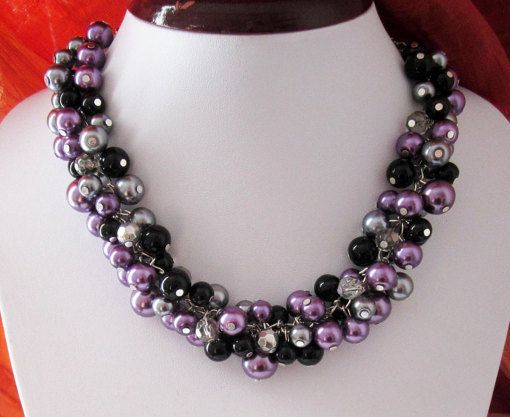 Plum Bridesmaid Necklace Cluster Necklace Pearl by SLDesignsHBJ