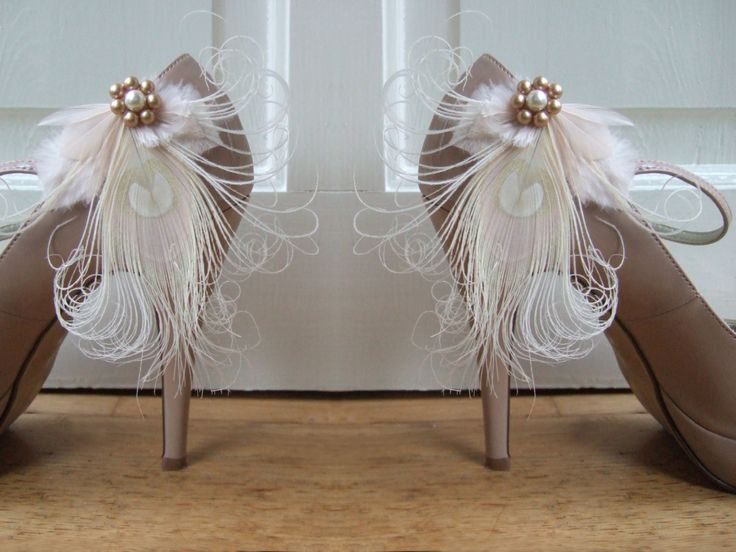 "Bridal Peacock Feathers Champagne Cream Shoe Clips / Bag Clips ""Allana"" (Pair) - 2 Days To Make - Bride Bridesmaid Mother of the Bride by Dress2ImpressEtsy on Etsy"