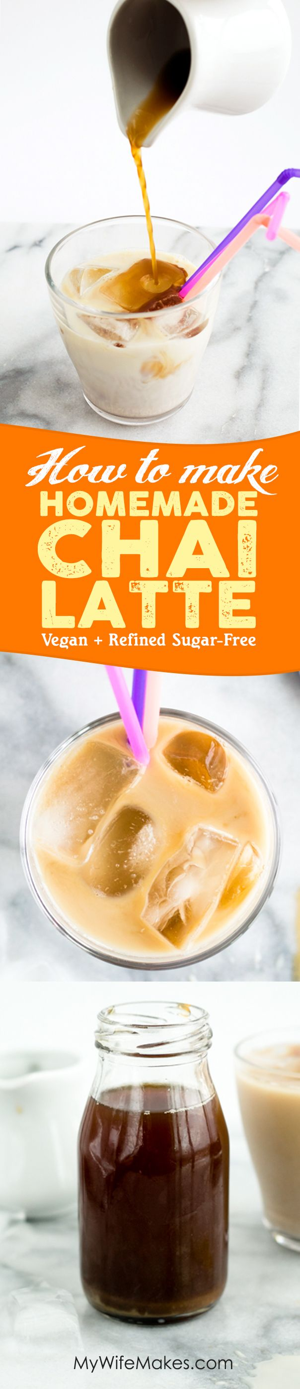Homemade Chai Syrup made with freshly ground Ginger, Cardamom, Black Pepper, Cloves, Star Anise and Cane Sugar. Topped off with creamy Almond Milk for the perfect Chai Tea Latte. #chai #tea #latte #vegan #homemade #cafe #recipe #drink #refinedsugarfree #spice