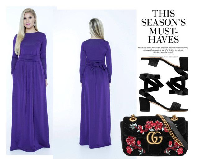 """""""Dark purple dress"""" by merima-kopic ❤ liked on Polyvore featuring H&M, Gucci and plus size dresses"""
