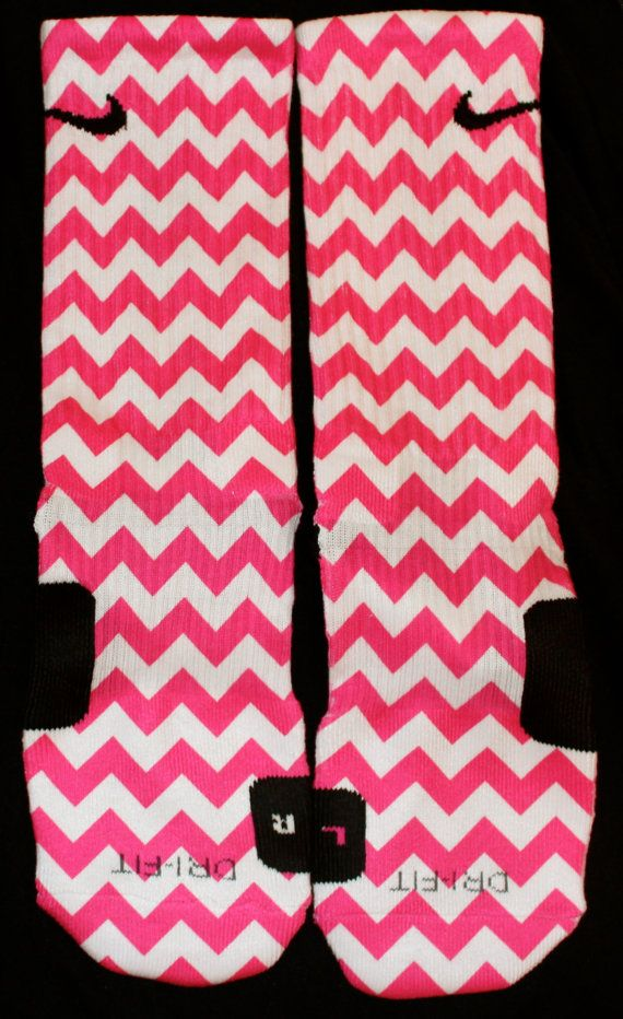 Perfectly Hot Pink Chevron custom Nike Elite by TheSickestSocks, $35.99