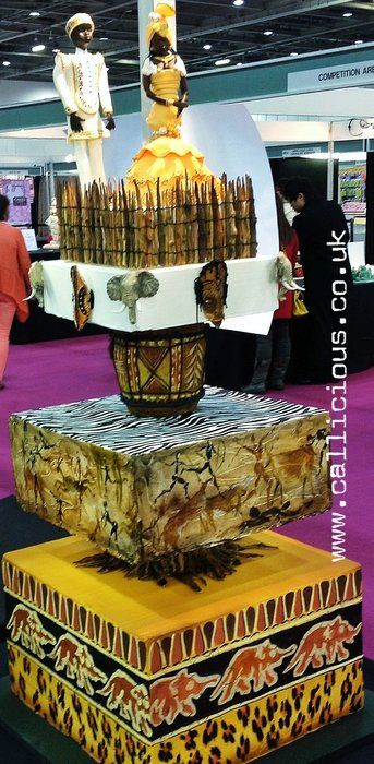 African Wedding Cake by Callicious Cakes (4/29/2013) View details here: http://cakesdecor.com/cakes/60718