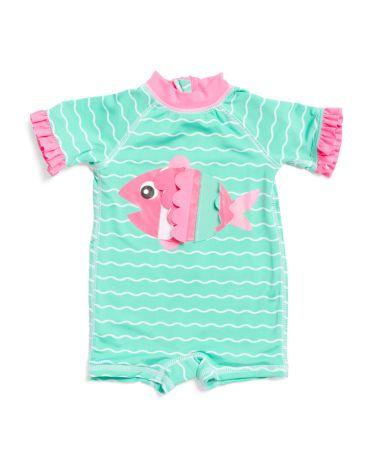 d373503b2ce0b Newborn Girls 1pc Rash Suit | LAYETTE SS20 | Baby girl swimsuit ...
