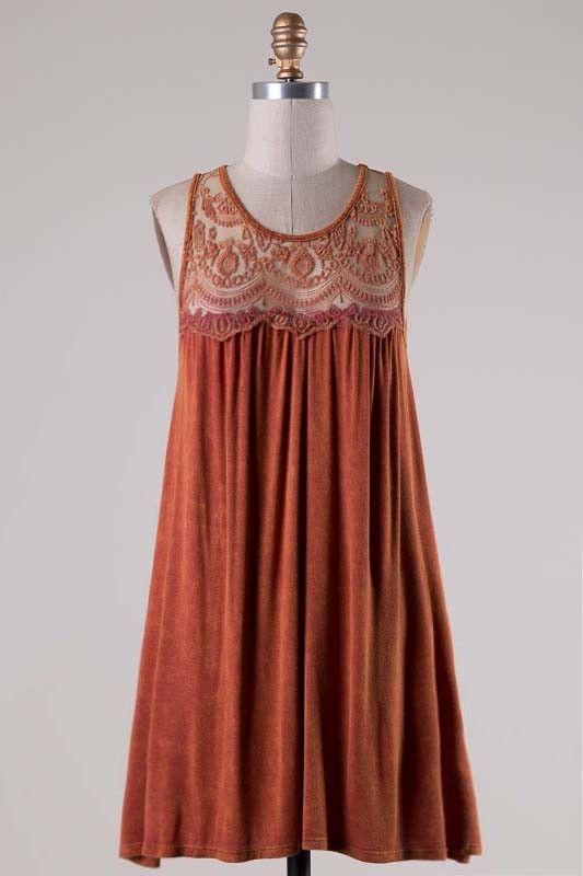Burnt Orange Sleeveless Dress Lace Top - Longhorn Fashions                                                                                                                                                                                 More