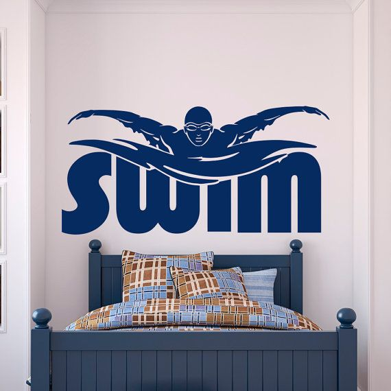 Sports Wall Decal Stickers Swim Swimming Pool Swimmer Gift- Swimming Wall Decal Sports Decor For Boys Room Bedroom Dorm Wall Art Approximate Item