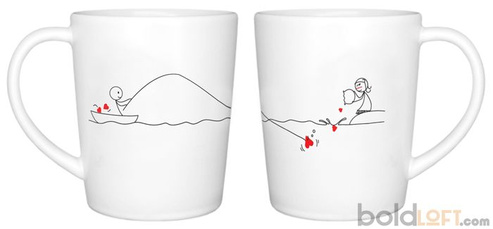 Unique His and Her Coffee Mugs, Catch My Heart Couple Coffee Mugs-BoldLoft... such a cute idea for long distance relationships